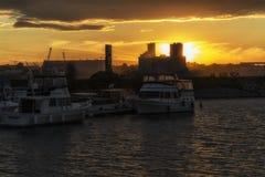 Marina at sunset Stock Images