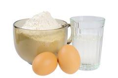 Farinha, água e ovos. Imagem de Stock Royalty Free