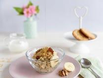 Farinha de aveia com mel e porcas fotos de stock royalty free
