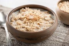 Farinha de aveia do café da manhã com leite Imagens de Stock Royalty Free