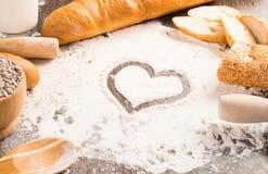 Farinha e pão branco Fotos de Stock
