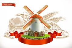 Farinha Pão e trigo Grupo do ícone do vetor da gravura ilustração royalty free
