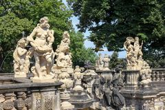 Ariy figures and statues Zwinger palace in Dresden, Germany, Stock Image