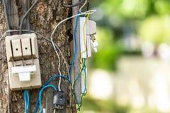 Farlig elektrisk kabel och utrustning ställde in på trädet royaltyfri foto