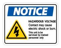 Farlig sp?nningskontakt Maj f?r meddelande att orsaka teckenisolaten f?r elektrisk chock eller br?nnskadap? vit bakgrund, vektori stock illustrationer