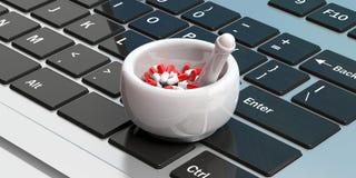 Farmácia em linha Cápsulas dos comprimidos em um almofariz, fundo do teclado de computador ilustração 3D ilustração stock