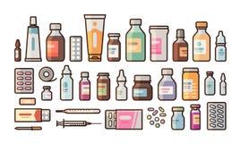 A farmácia, medicamentação, garrafas, comprimidos, cápsulas ajustou ícones Drograria, medicina, conceito do hospital Ilustração d ilustração stock
