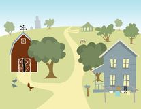 On The Farm. Illustration of a farm house with a barn in the background Royalty Free Stock Image