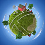 Farm. 3D concept with farm on the globe