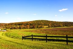 Farm. Field under beautiful blue autumn sky Stock Image