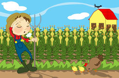 Farm. Illustration about a country landscape with a tired farmer, a hen and her chicks, some corn and a farm in the back Stock Image