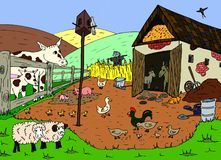 Farm. Illustration of the  various farm animals Stock Photo