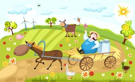 Farm. Vector illustration of a colorful farm witn farm animals Royalty Free Stock Images