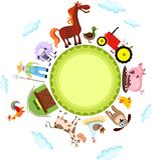 Farm. Vector illustration of a cute farm card Royalty Free Stock Photo