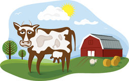 Farm. Cartoon illustration of a milking cow on a farm Royalty Free Stock Photography