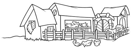 Farm. Black and White Cartoon illustration, Vector Stock Photography