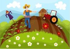 Farm. Vector illustration of a cute farm Stock Photo