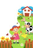 Farm. Colored illustration of a farm with animals Stock Image