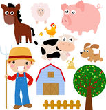 Farm. Cartoon of cute farm set Stock Photos