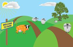 A farm. A humorous cartoon illustration about a farm and it's inhabitants . Vector drawing EPS 10 royalty free illustration
