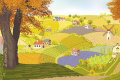 On a farm. View from a hill on a farm in autumn. Vector illustration Royalty Free Stock Photography