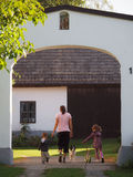 The farm. Mother with two children on a farm Royalty Free Stock Photo