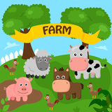 Farm. Image of a farm with a variety of farm animals Royalty Free Stock Images