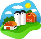 Farm. A colorful vector illustration of a farm Stock Image