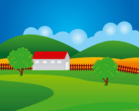 Farm. A colorful vector illustration of a farm Royalty Free Stock Photos