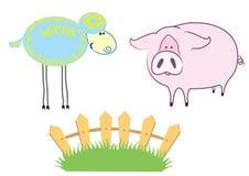 Farm. Blue sheep and pink  pig Stock Photos