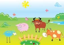 Farm. Color vector animals on grass Stock Photo