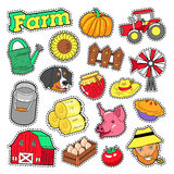 Farm Agricultural Elements Set with Farmer, Harvest and Animals for Stickers, Prints Royalty Free Stock Image