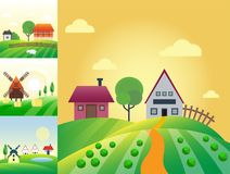 Farm agriculture banner rural landscape products old barn and field cartoon vector illustration. Organic scenery sky nature countryside harvest land Stock Photography