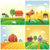 Farm agriculture banner rural landscape products old barn and field cartoon vector illustration. Organic scenery sky nature countryside harvest land Royalty Free Stock Photo