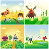 Farm agriculture banner rural landscape products old barn and field cartoon vector illustration. Organic scenery sky nature countryside harvest land Stock Image