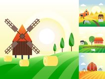 Farm agriculture banner rural landscape products old barn and field cartoon vector illustration. Organic scenery sky nature countryside harvest land Stock Photos