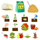 Farm and agriculture cartoon icons in set collection for design. Garden and plants isometric vector symbol stock web. Farm and agriculture cartoon icons in set Stock Photography