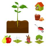 Farm and agriculture cartoon icons in set collection for design. Garden and plants isometric vector symbol stock web. Farm and agriculture cartoon icons in set Stock Photo