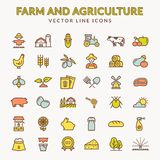 Farm and agriculture colored outline icons. Vector. vector illustration