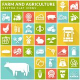 Farm and agriculture flat icons on colorful square buttons. Vect stock illustration