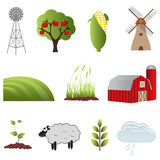Farm and agriculture icons. Farm and agriculture icon set Stock Images