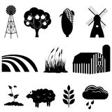 Farm and agriculture icons. Farm and agriculture icon set Stock Photos