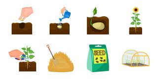 Farm and agriculture icons in set collection for design. Garden and plants vector symbol stock web illustration. Farm and agriculture icons in set collection Royalty Free Stock Photos