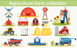 Farm Agriculture infographics elements set with technical equipment, buildings and other tools. Stock Images