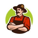 Farm, agriculture logo or label. Happy farmer, grower cartoon. Vector illustration. Farm, agriculture logo or label. Happy farmer, grower cartoon Vector Stock Photo