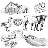 Farm and agriculture pictures. Hand drawn collection of farm and agriculture pictures Stock Images