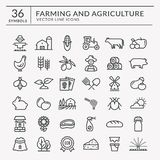 Farm and agriculture vector line icons. royalty free illustration