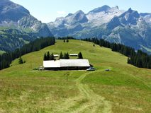 Farm in an alpine meadow near Gstaad, Switzerland Stock Photography