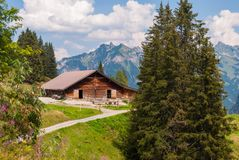 Farm in summer in the Swiss Alps. Farm in the alpine mountains in Switzerland stock image