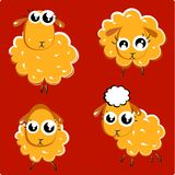 Farm animal. Brown wool.  Funny sheeps. Vector illustration Royalty Free Stock Photography
